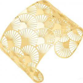 Bracelet manchette or jaune 750/°°°