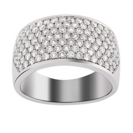 bague or blanc large pavage brillants