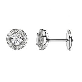 Boucles d'oreilles or blanc brillants entourage 0,49 ct