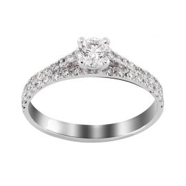 solitaire or blanc accompagné double rang