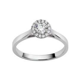 Solitaire or blanc entourage brillant 0,25 ct