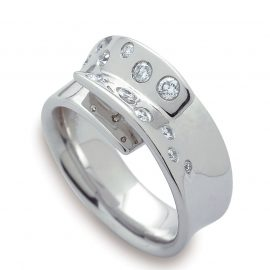 Bague or blanc et brillants 0,33 ct