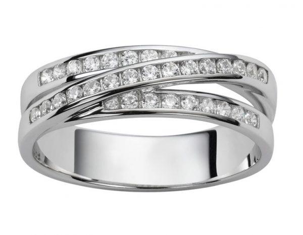 Bague croisée or blanc diamant 3 rangs