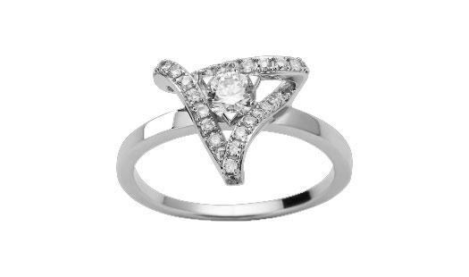 Bague diamants or blanc