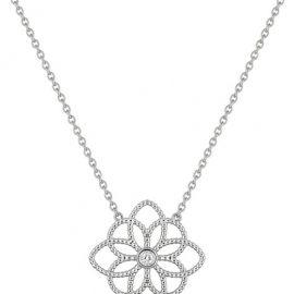 Collier or blanc fleur