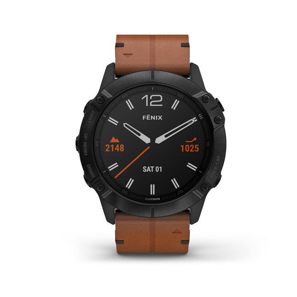 fēnix6X Revêtement en carbone amorphe noir avec bracelet en cuir marron NUMéRO DE RéFéRENCE 010-02157-14